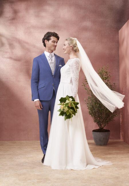 Anzug, Fliege, blau, Bräutigam, Kuhn, Hochzeit
