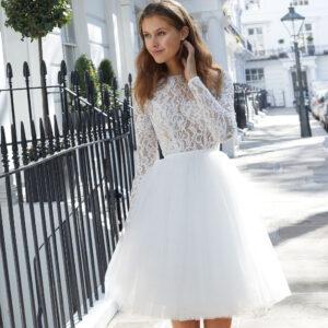 kurzes Brautkleid, Justin Alexander Brautkleid, Hochzeitskleid, Brautmode für das Standesamt