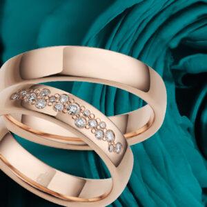 Rauschmayer, eheringe, Ringe, Rose im Hintergrund, 3D