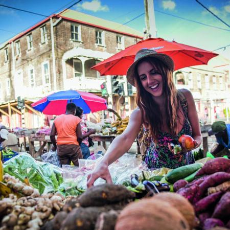 Karibik, Frau, Markt, Einkaufen, Früchte